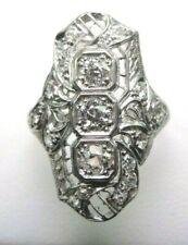 Antique Art Deco Vintage Engagement Dinner Platinum Ring Sz 5.5 UK-K1/2 EGL USA
