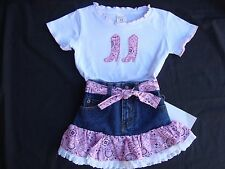 2 pc PINK Bandana & Denim Western Cowgirl Skirt Set Size 6 NWT CUTE!