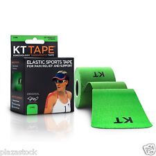KT Tape Original Cotton Kinesiology Tape - 1 Roll of 20 Precut Strips - Lime