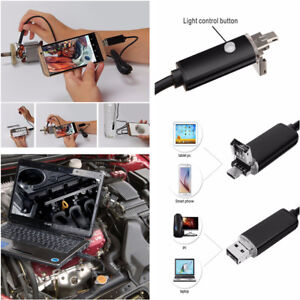 5m 7mm 6LED Android PC HD Endoscope Snake Borescope 2-in-1 USB Inspection Camera