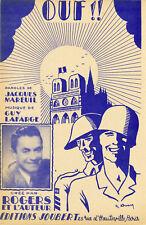 """""""OUF !! par ROGERS et Jacques MAREUIL"""" Partition originale 1944 (Raymond ERNY)"""