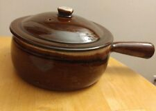 Vintage Brown Drip Glaze Pottery Handled Pot with Lid Made in U.S.A.