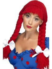 Red Rag Doll Pigtail Wig w/ Fringe & Bows Womens Smiffys Fancy Dress Costume
