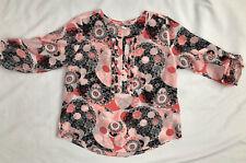 Lovely light weight summer REGATTA ¾ sleeve top, sz L (14-16), white/peach/black