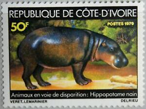 IVORY COAST ELFENBEINKÜSTE 1979 586 Endangered Animals Tiere Zwergflußpferd MNH