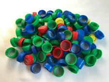 Plastic Pop Soda Bottle Caps Lids Green Blue Clean Lot of 125 Crafts DIY