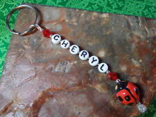 Personalized Red LADYBUG adorable KEY RING made with Swarovski Crystals