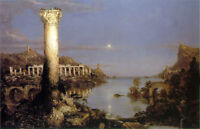 Oil painting Thomas cole - The Course of the Empire Desolation moon night view