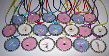 10 TUMBLING GYMNASTICS GIRL BOTTLE CAP PINK PARTY FAVORS W/COLOR CORD NECKLACE