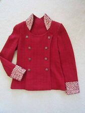 $16900 Chanel AUTH Stud Embellished Red Tweed Jewel CC Buttons Jacket 38 12A