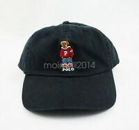Polo RL Red Embroidery Teddy Bear Hat Mens Boy Baseball Jumper Cap Black Leisure