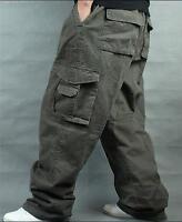 Mens Cargo Pants Jeans Hip Hop Loose Elastic Buckle Combat Trousers vogue Hot Sz
