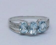 R245-Genuine 9K Solid White Gold NATURAL Aquamarine DIAMOND Trilogy Ring size O
