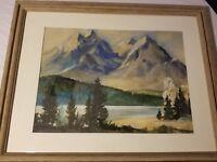 Vintage 1952 WILLARD J SAUTER Original Watercolor Jenny Lake Grand Tetons Autumn