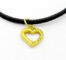 Pendant Black Leather Chain Necklace 1pcs Fashion Jewelry Heart Love Charms