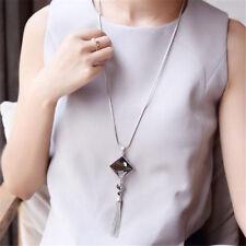 Women Square Big Drop Crystal Pendant Necklace Long Tassel Fringe Sweater Chain