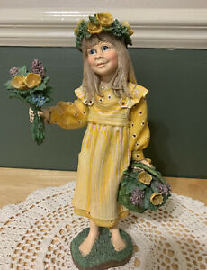 """Candy Designs, Carl Larsson Norway """"Flower Girl"""" Figurine 9"""" Tall"""