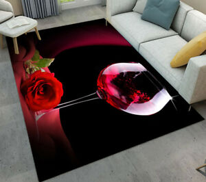 Romantic Red Wine and Rose Living Room Floor Mat Bedroom Area Rugs Decor Carpet