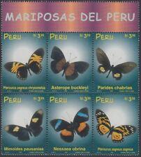 Perú 1203/08 1999 Mariposas del Perú butterfly fauna  MNH