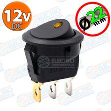 Interruptor ON OFF con LED 12v NARANJA 22mm 16A redondo SPST coche car luz SPST