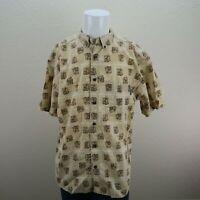 Woolrich Tan Short Sleeve Button Front Deer Print Casual Shirt Mens XL