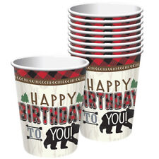 1st BIRTHDAY Little Lumberjack 9oz PAPER CUPS (8) ~Party Supplies Drink Beverage