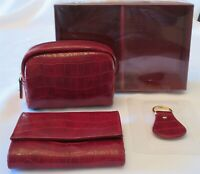 Faux Croc 3pc Wallet, Key Chain, Small Travel Case Burgundy Brand New In box