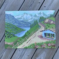 """Vintage Mid-Century Swiss Alps Mountains Paint By Number Oil Painting 12"""" X 16"""""""