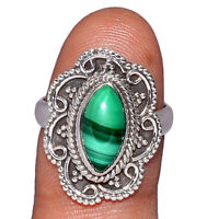 Malachite - Congo 925 Sterling Silver Ring Jewelry s.6 AR196411 XGB