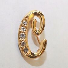 Brooch Pin - Avon - Letter C - Initial - White Rhinestones - Gold Tone