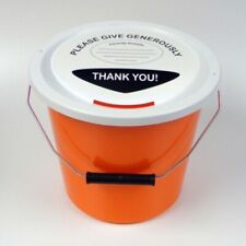 More details for 6 charity money collection buckets lids, labels & ties for fundraising-orange