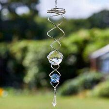 Blue Double Ball Spinning Helix Wind Spinner 37cm Flamboya By Smart Garden