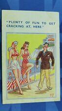 Saucy Pip Comic Postcard 1949 Big Boobs Long Legs PLENTY FUN TO GET CRACKING AT