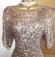 Vintage 20's Style❤️ £60 Gold Sequin Gatsby Flapper  Dress Party L 16