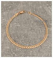 Bracelet fin maille anglaise bombée Plaqué Or 18 Carats  Bijoux femme
