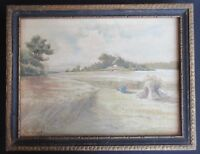 Vintage Watercolor by Inez Crawford- Unknown Artist  c.1911 Wheat Harvest Scene