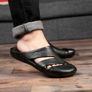 Summer Mens Pu Leather Closed Toe Mules Slippers Beach Slides Sandals Shoes Size