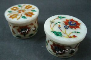Set of 2 Pieces Marble Earring Box Exclusive Design Trinket Box Size 2.5 Inches
