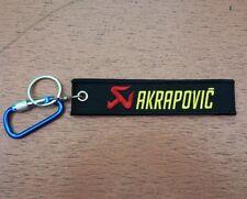 1 Embroidered Fabric Strap AKRAPOVIC Keychain Keyring Key Holder Tag Motorcycle