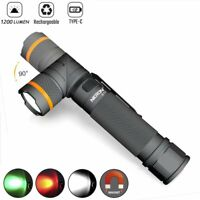 Nicron 1200LM Magnetic Twist 90° Type-C Rechargeable Tactical Flashlight 18650