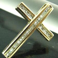DIAMOND CROSS GENUINE HALLMARKED REAL 9K SOLID YELLOW GOLD LADIES ANTIQUE DESIGN