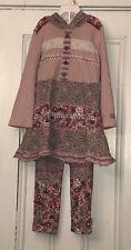NAARTJIE Girls Pink Floral Hooded Tunic & Leggings Outfit Sz 5 Med Apr 14' Line