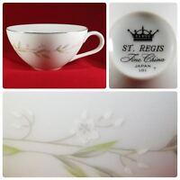 St Regis Tea Cup Only Fine China 101 Japan White Flower Sprays Platinum Rim