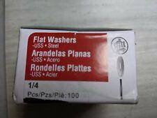 100 1/4 Flat Washers Uss Zinc Steel 8 ounce