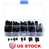 300pcs M3 Nylon Screw Black Hex Screw Nut PCB Standoff Assortment Kit, US STOCK