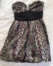 Betsey Johnson Animal Print Sweetheart Strapless Dress Black White Pink 6
