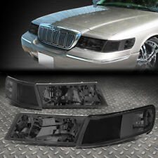 For 98 02 Mercury Grand Marquis Pair Smoked Housing Clear Corner Headlight Lamps Fits 2000
