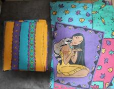 Vintage Pocahontas Twin Fitted Flat Sheet Set Disney 1990's 54 x 80 measurement