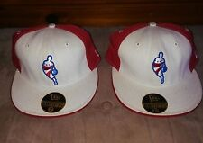 Lot of 2 76ers New Era 59FIFTY NBA Fitted Hat Throwback Red/White/Blue
