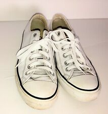 Converse All Star Shoe Unisex Upper Leather Size 7 Mens 9 Wos Low Top White